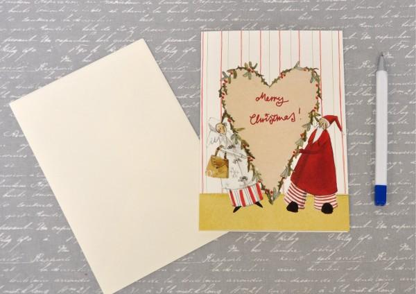 Weihnachtsherz - Klappkarte mit Umschlag