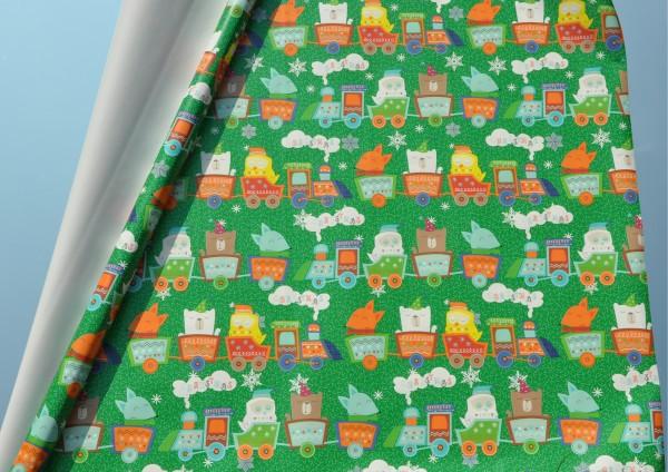 Weihnachtseisenbahn grün - Geschenkpapier