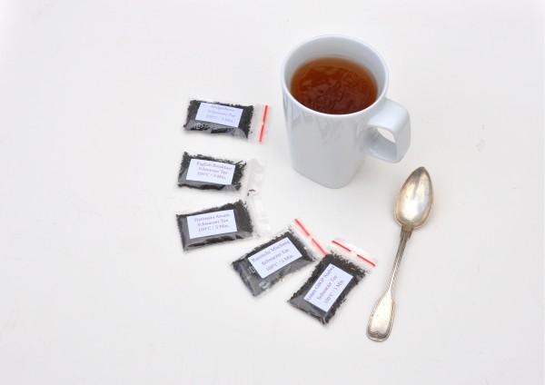 5x nicht aromatisierter Schwarztee je 1 Tasse