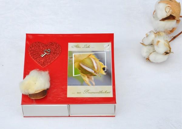 2. Hochzeitstag Baumwollhochzeit - ROT / Schlüssel zum Herzen für Zwei