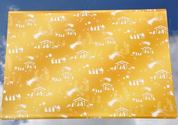 Weihnachtskrippe goldgelb - Geschenkpapier