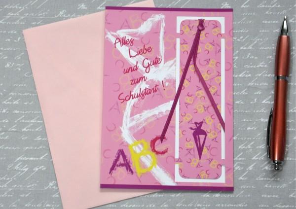 Schulanfang ROSA - Lesezeichenkarte mit Umschlag