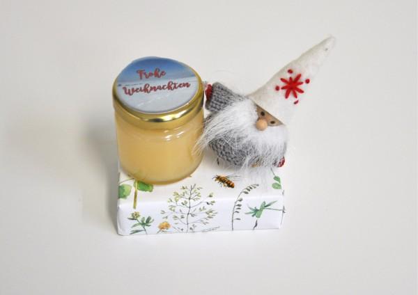 Frohe Weihnachten -Wichtel + Honigmilchseife + Honig - Geschenk