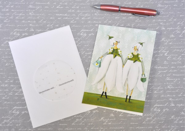 Glockenblume - Klappkarte, Saatscheibe und Umschlag