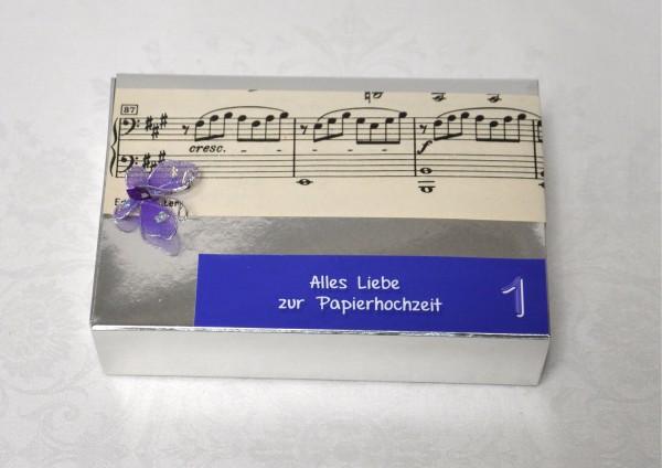 1. Hochzeitstag Papierhochzeit - Geschenkschachtel Noten SILBER