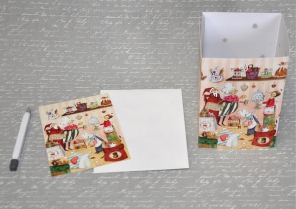 Weihnachtsbäckerei - Adventskalender - Leuchte mit Karte und Umschlag