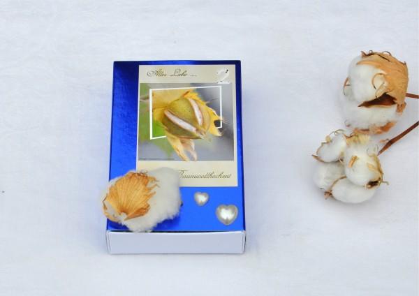 2. Hochzeitstag Baumwollhochzeit - blaue Geschenkschachtel