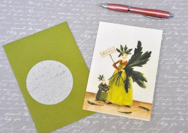 Ruccola - Klappkarte, Saatscheibe und Umschlag