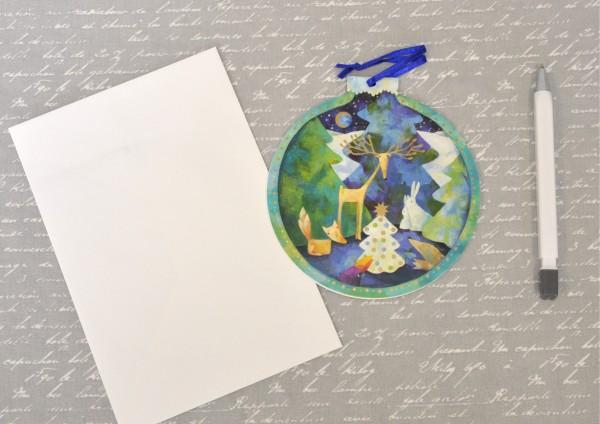 Weihnachtsbaumkugel GRÜN - gestanzte Klappkarte mit Umschlag-