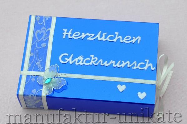 Schachtel zur Hochzeit - blau glänzend