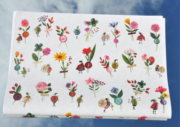 Blumen im Käferland - Geschenkpapier