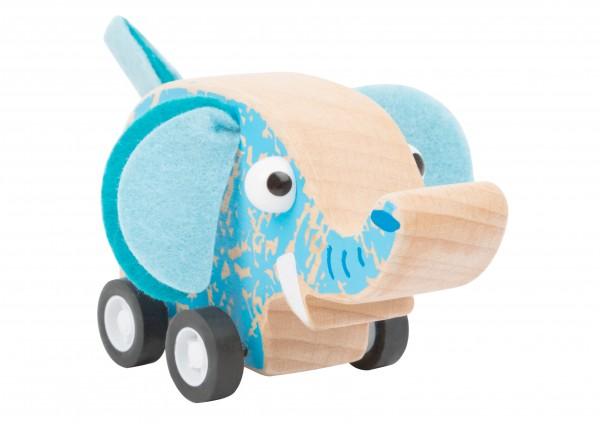 Elefant aus Holz - Rückziehfahrzeug