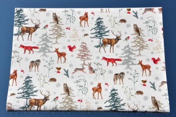 Tiere im Winterwald - Geschenkpapier