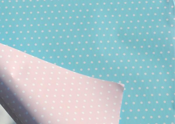 Rosa / Hellblau Punkte - Geschenkpapier Meterware