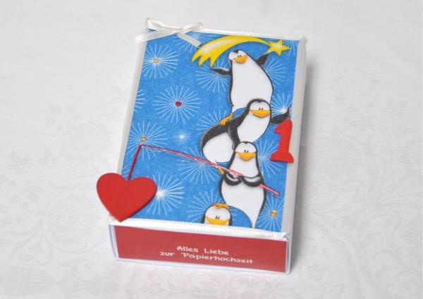 1. Hochzeitstag Papierhochzeit - Geschenkschachtel Pinguine