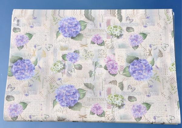 bunte Hortensien / Paniculata - Geschenkpapier mit Golddruck