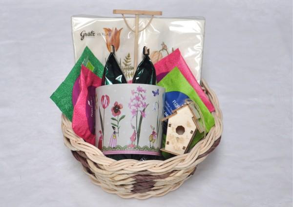 Gärtnerglück - Handgefertigter Korb mit Tee - Teegeschenk