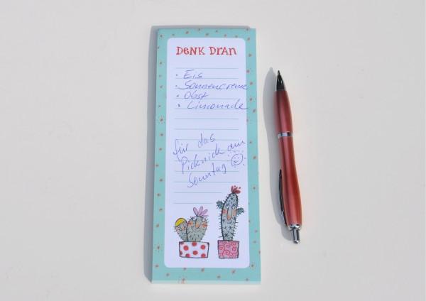 Denk Dran / Kaktus - Notizblock mit Magnet