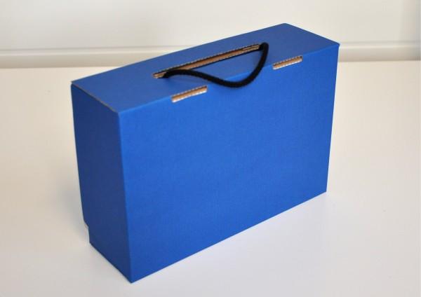 Koffer aus Pappe - BLAU - Geschenkschachtel