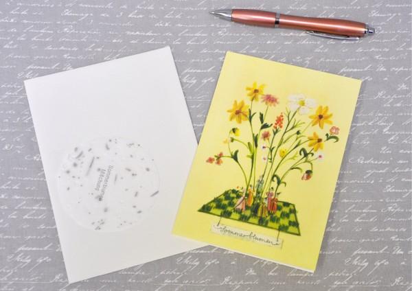 Sommerblumen - Klappkarte, Saatscheibe und Umschlag