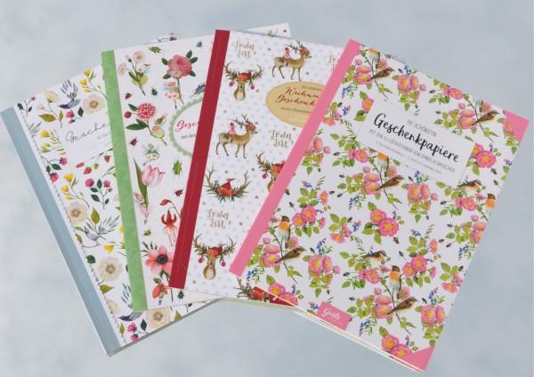 4x Die schönsten Geschenkpapiere - Geschenkpapierbuch