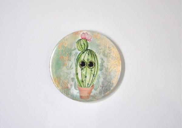 Kaktus mit Blüte - Ø 5,6 cm - Magnet