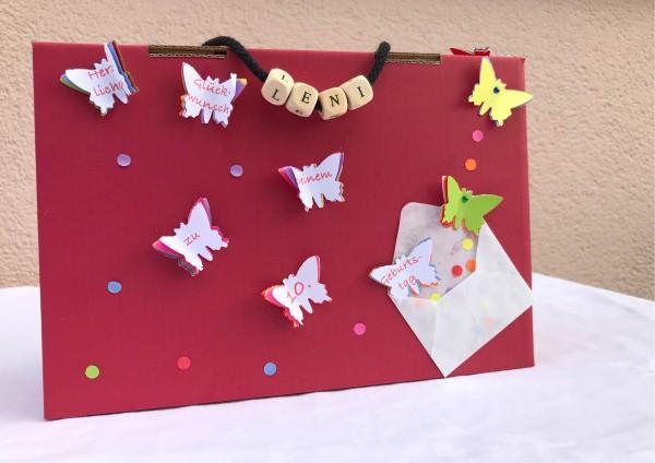 Geschenkschachtel / Koffer zum Geburtstag - Schmetterlinge in 3 Farben