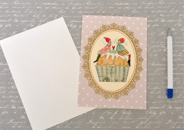 Süße Weihnachtszeit- Klappkarte mit Umschlag