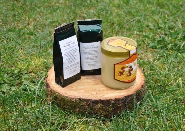 Teegeschenk - Früchtetee, Kräutertee + Honig
