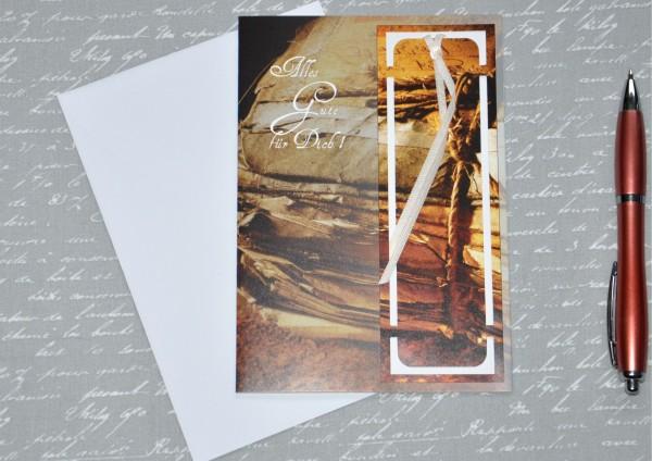 Alte Bücher - Lesezeichenkarte mit Umschlag
