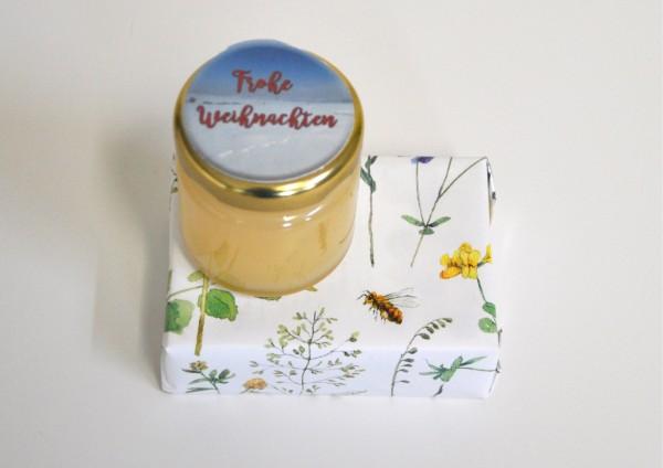 Frohe Weihnachten - Honigmilchseife + Honig - fertig verpackt