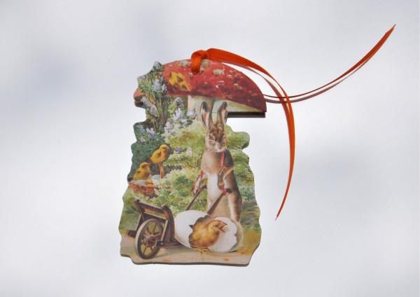 Osterhase mit Fliegenpilz - Schmuckanhänger