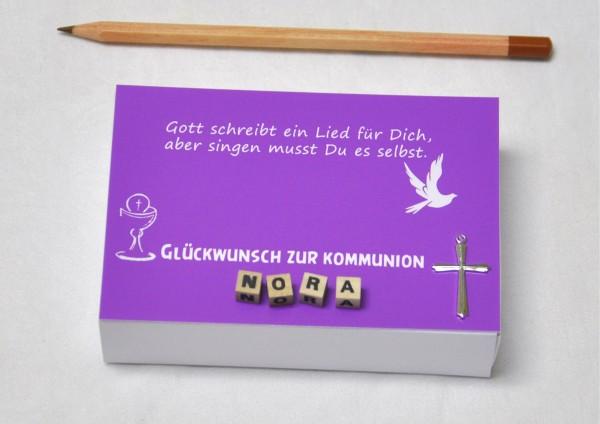 Kommunion mit Namen in 8 Farben - Geldgeschenk Geschenkschachtel