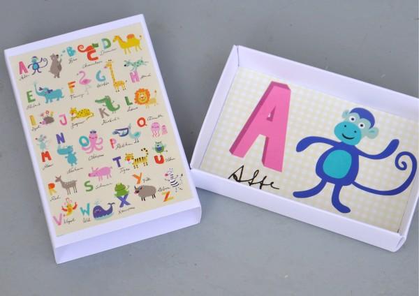Schulanfang Alphabet / Affe - Geschenkschachtel