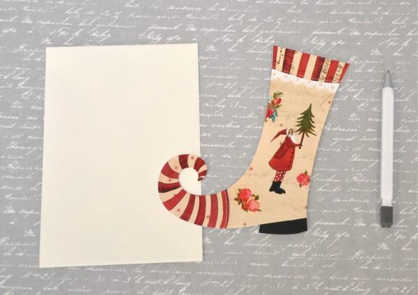Weihnachtsstiefel Weihnachtsmann - gestanzte Klappkarte mit Umschlag