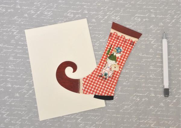 Weihnachtsstiefel ROT-WEISS-KARIERT - gestanzte Klappkarte mit Umschlag