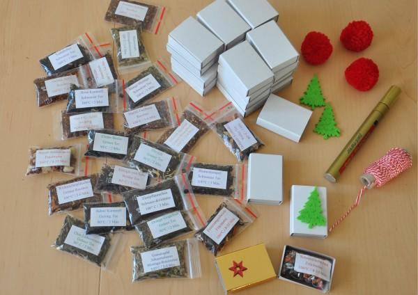24 Sorten loser Tee und 24 Schiebeschachteln - DIY