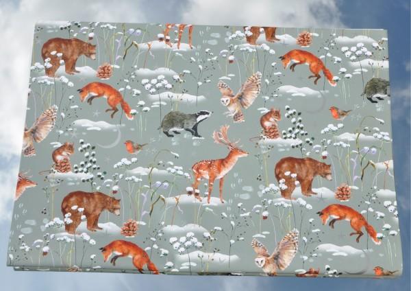 Waldtiere im Schnee - Geschenkpapier mit Silberdruck
