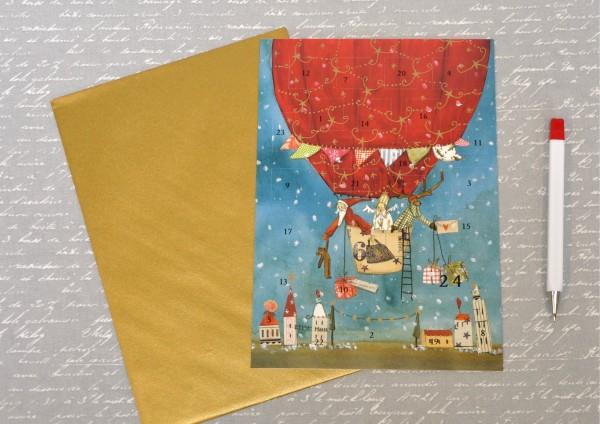 Weihnachtsmann, Engel und Rentier im Heißluftballon - Adventskalenderkarte DIN A5