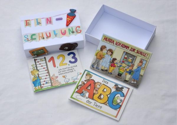 Schulanfang Einschulung - Geschenkschachtel mit 3 Minibücher