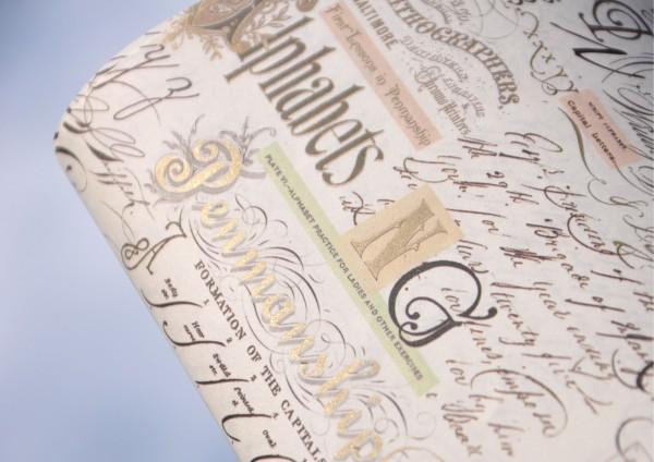 Lettering geschriebene Kunst - Geschenkpapier mit Golddruck