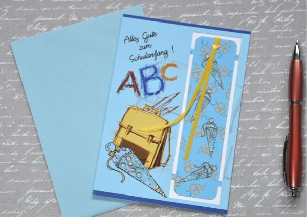 Schulanfang BLAU - Lesezeichenkarte mit Umschlag