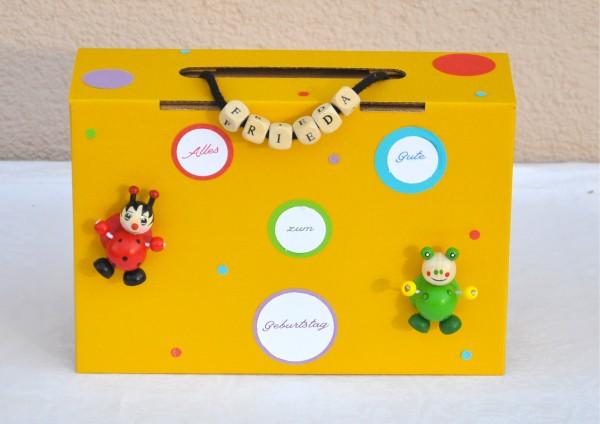 Geschenkschachtel / Koffer zum Kindergeburtstag - Punkte