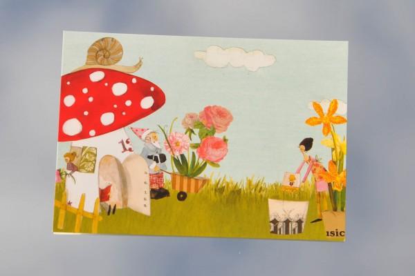 Glückspilz Zwergenhaus - Postkarte