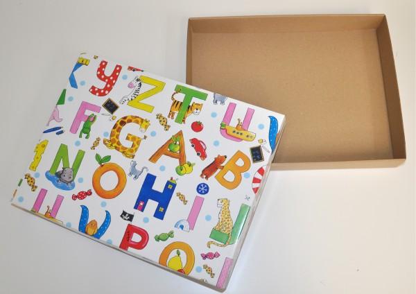 Buchstaben Tiere - Geschenkschachtel mit Deckel