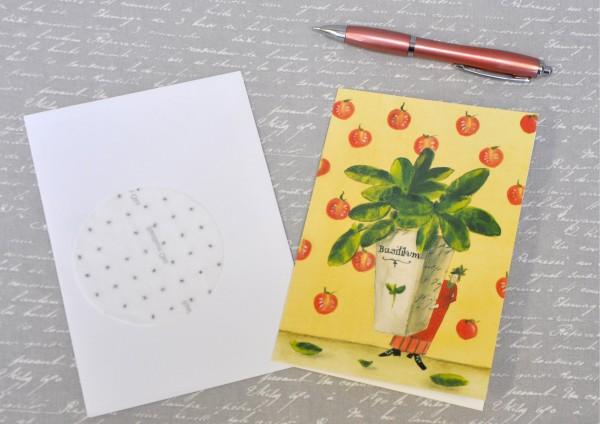 Basilikum - Klappkarte, Saatscheibe und Umschlag