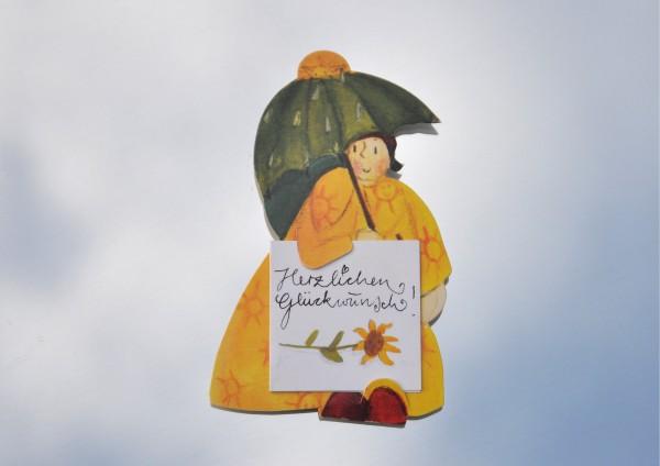 Unterm Regenschirm - Geschenkaufklebefigur