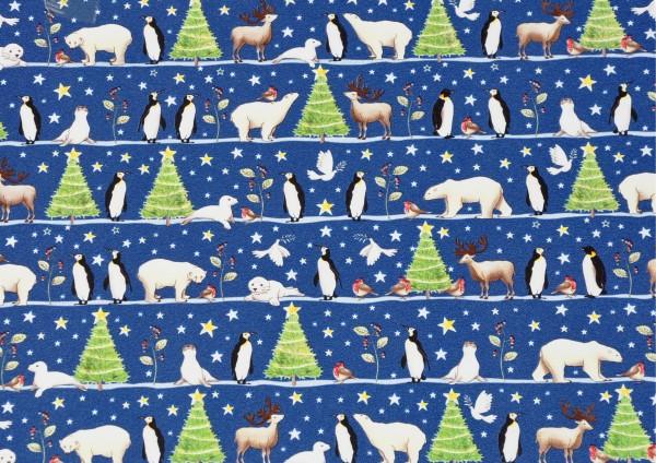 Weihnachten mit Eisbär, Robbe, Pinguin und ihren Freunden - Geschenkpapier Meterware