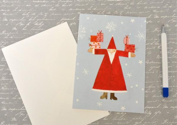 geradliniger Weihnachtsmann - Klappkarte mit Umschlag
