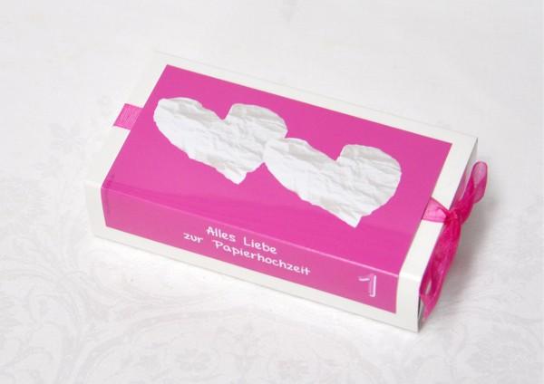 1. Hochzeitstag Papierhochzeit - Geschenkschachtel weiß / pink
